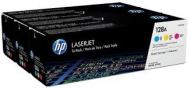 HP CF371AM LASER TONER 128 TRI PACK CYAN MAGENTA YELLOW